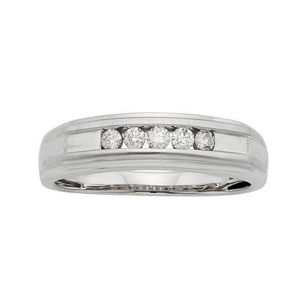 Mens 1/4 CT. T.W. Certified Diamond 14K White Gold Band Ring