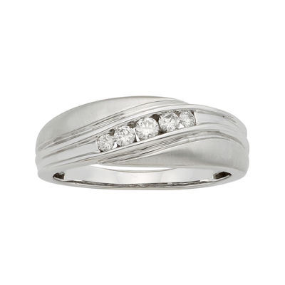 Mens 1/4 CT. T.W. Certified Diamonds 14K White Gold Band Ring