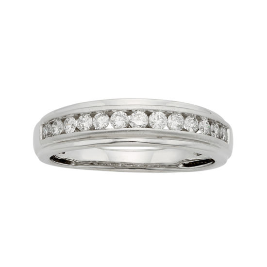 Mens 1/2 CT. T.W. Certified Diamond 14K White Gold Band