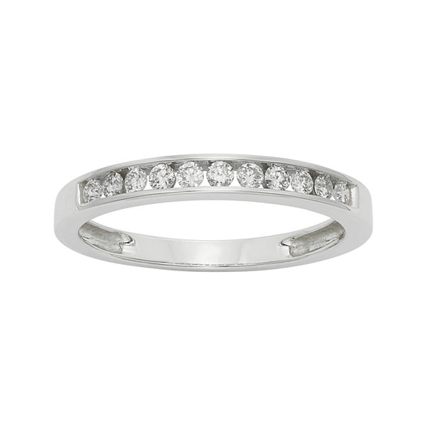 1/4 CT. T.W. Certified Diamond 14K White Gold Wedding Band Ring