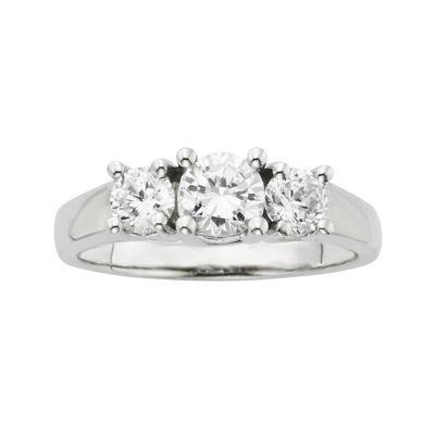 1 CT. T.W. Certified Diamonds 18K White Gold 3-Stone Ring
