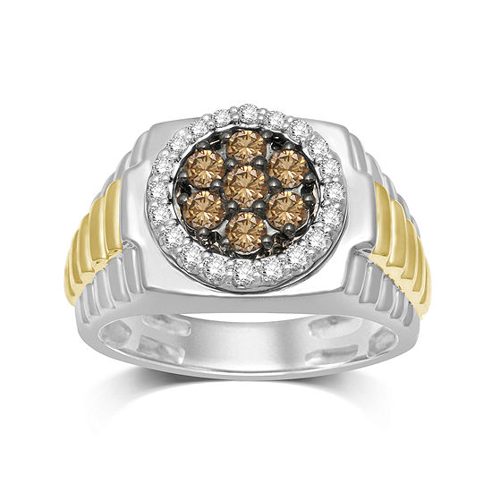 Mens 1 Ct Tw White And Champagne Diamond Ring