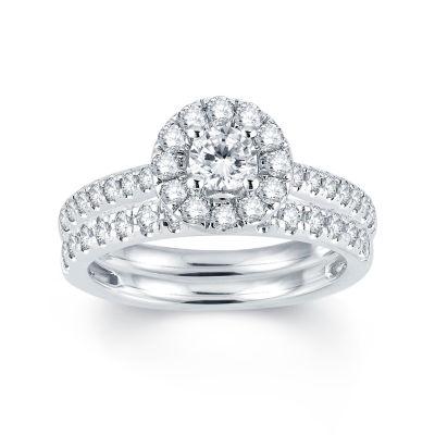 Modern Bride Signature Womens 1 CT. T.W. Genuine White Diamond 14K Gold Bridal Set