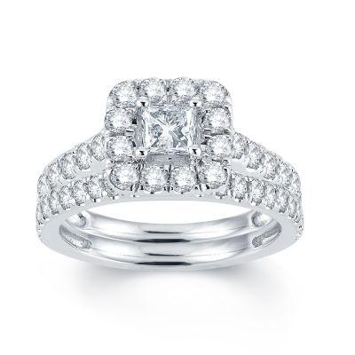 Modern Bride Signature Womens 2 CT. T.W. Genuine White Diamond 14K Gold Bridal Set