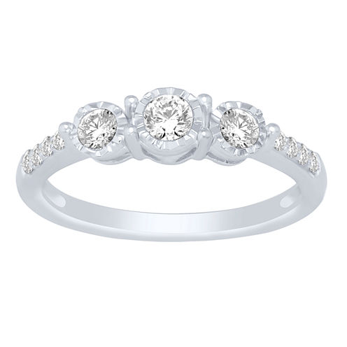 Love Lives Forever Womens 1/2 CT. T.W. Genuine Round White Diamond 14K Gold Engagement Ring