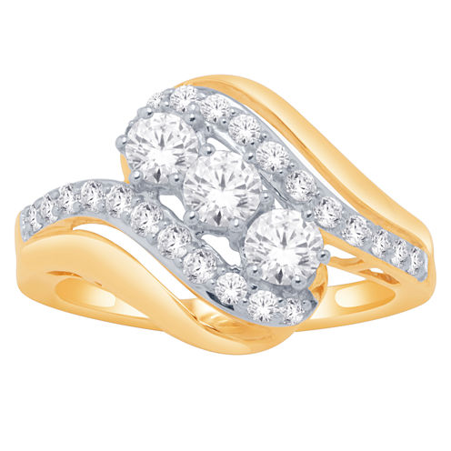 Love Lives Forever Womens 3/8 CT. T.W. Genuine Round White Diamond 10K Gold Engagement Ring