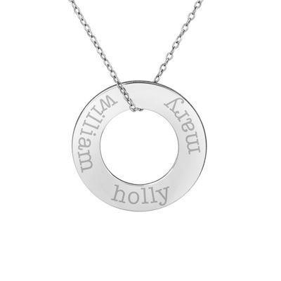 Personalized Sterling Silver 26mm Circle Family Name Pendant Necklace