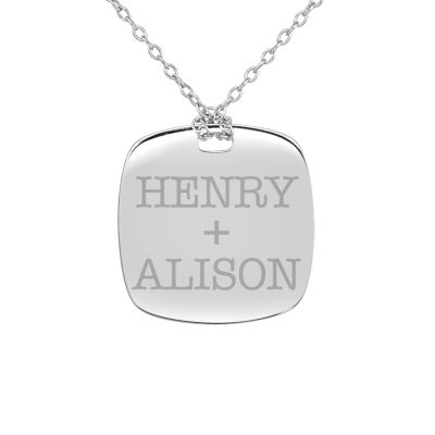 Personalized Sterling Silver 20mm Couple's Name Pendant Necklace