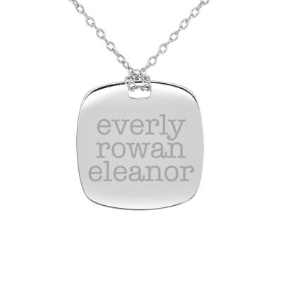 Personalized Sterling Silver 20mm Family Name Pendant Necklace