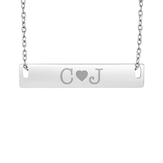 Personalized Sterling Silver Couple's Initial Bar Pendant Necklace