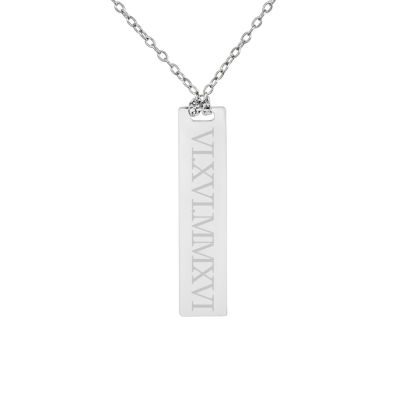 Personalized Sterling Silver Roman Numeral Date Bar Necklace
