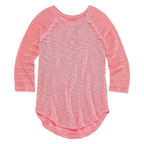 Arizona Crew Neck 3/4 Sleeve Crochet Hatchi Top - Girls' 7-16 and Plus