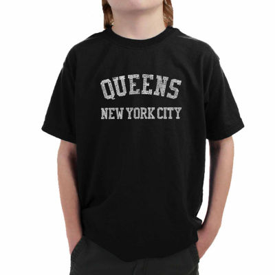 Los Angeles Pop Art Popular Queens Ny Neighborhoods  Graphic Boys T-Shirt