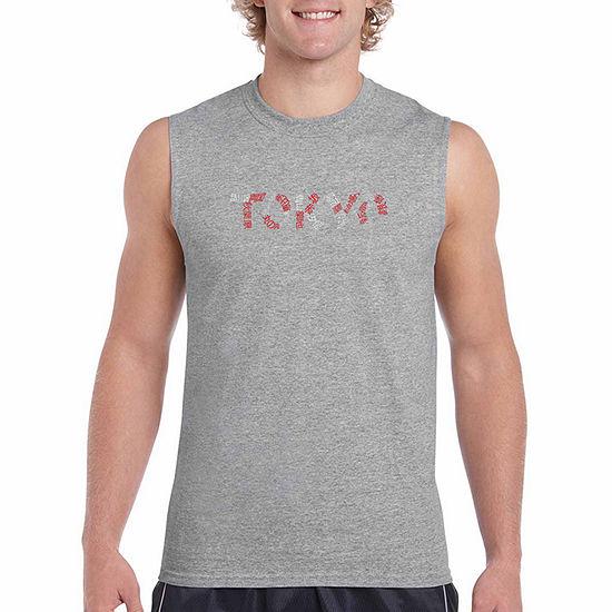 Los Angeles Pop Art Mens Crew Neck Sleeveless T-Shirt-Big and Tall