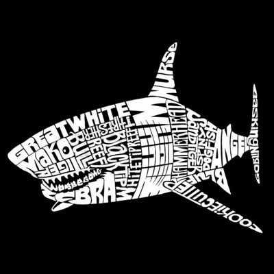 "Los Angeles Pop Art ""Species Of Shark"" Word Art Tank Top- Men's Big and Tall"""
