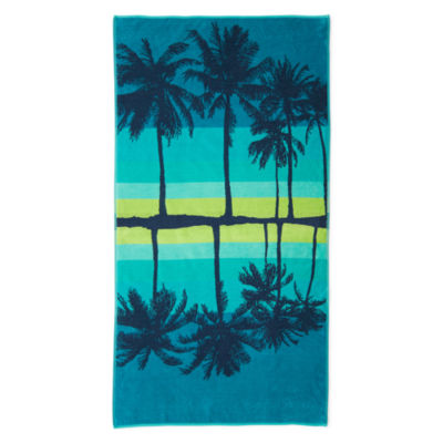 "Outdoor Oasis Palm Silhouette 34""x68"" Jacquard Beach Towel"