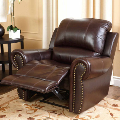 Charlotte Leather Roll-Arm Recliner