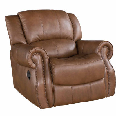 Faux Leather Roll-Arm Recliner