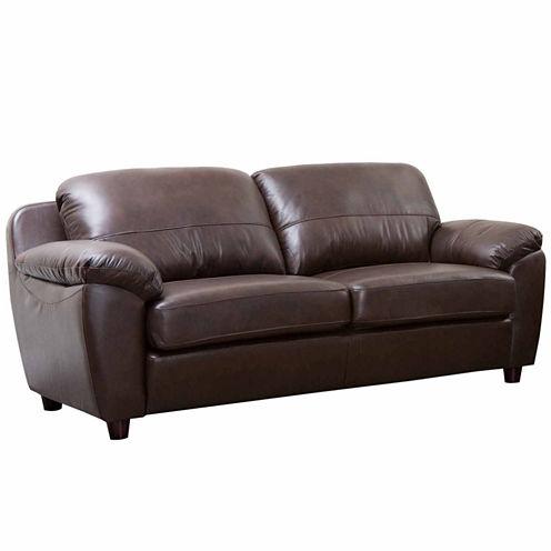 Aria Leather Pad-Arm Sofa