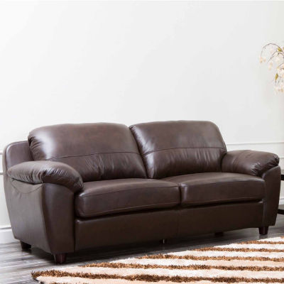 Aria Leather Pad-Arm Sofa