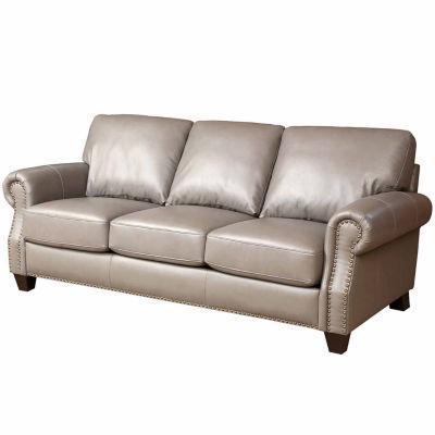 Arianna Leather Roll-Arm Sofa