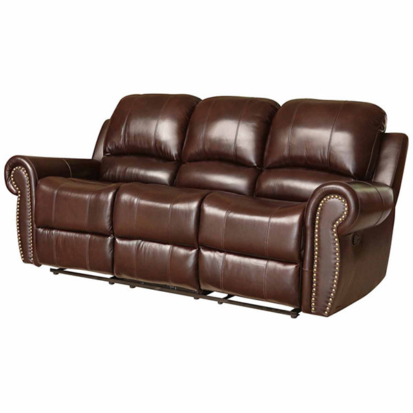 Charlotte Leather Roll-Arm Reclining Sofa
