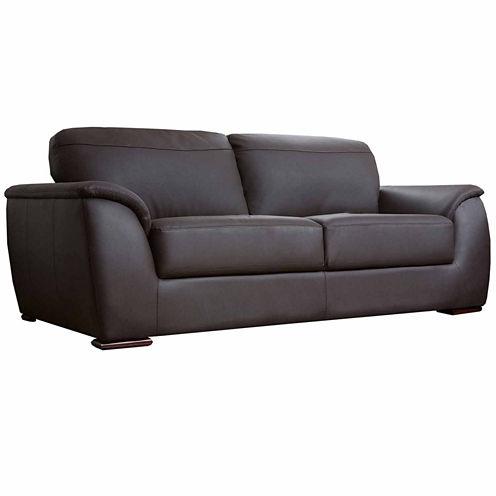 Chloe Leather Pad-Arm Sofa
