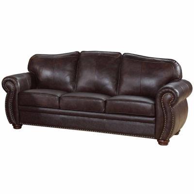Elizabeth Leather Roll Arm Sofa