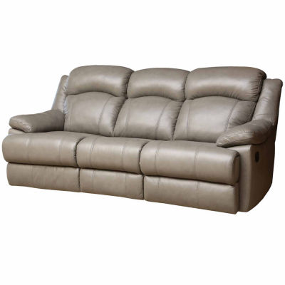 Natalie Leather Pad Arm Reclining Sofa