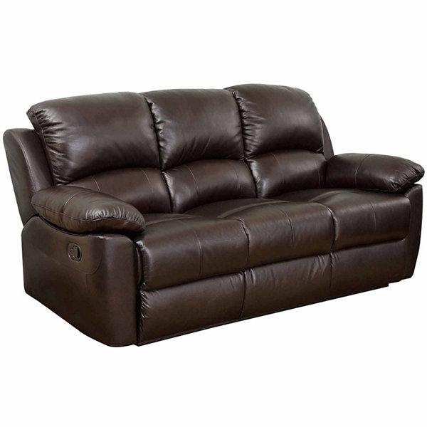 Paisley Leather Pad Arm Reclining Sofa