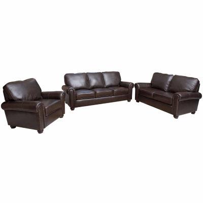 Oliva 3pc Leather Sofa + Loveseat Set