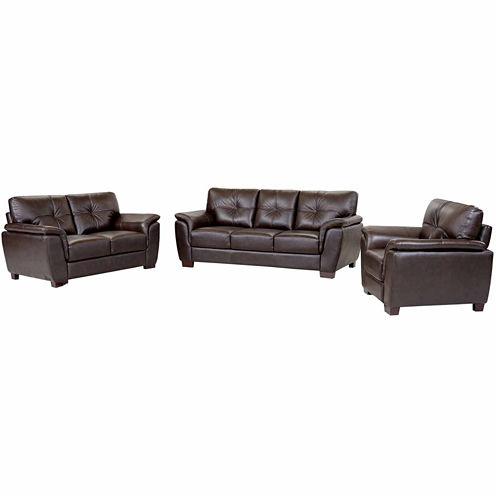 Victoria Leather Sofa + Loveseat Set