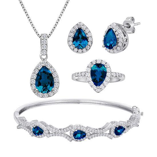 Genuine Blue Topaz Pure Silver Over Brass 4-pc. Jewelry Set
