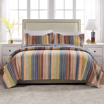 Greenland Home Fashions Katy Stripe Quilt Set