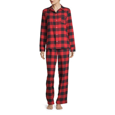North Pole Trading Co. Buffalo Plaid Family Womens-Petite Pant Pajama Set 2-pc. Long Sleeve