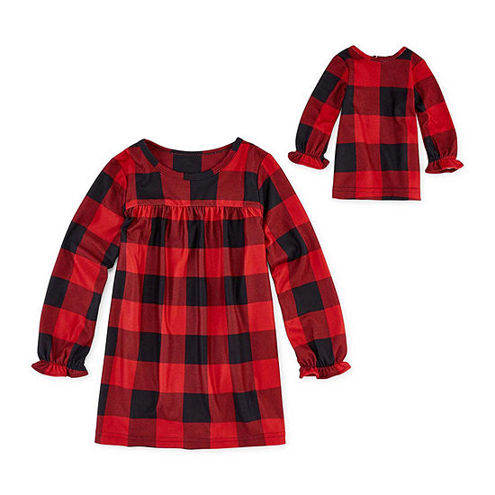 North Pole Trading Co. Buffalo Plaid Family Girls Flannel Nightgown Long Sleeve Round Neck