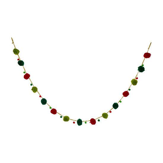 Glitzhome Multicolor Pom Pom Garland