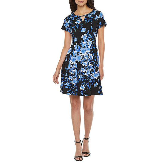 Alyx Short Sleeve Floral Fit & Flare Dress