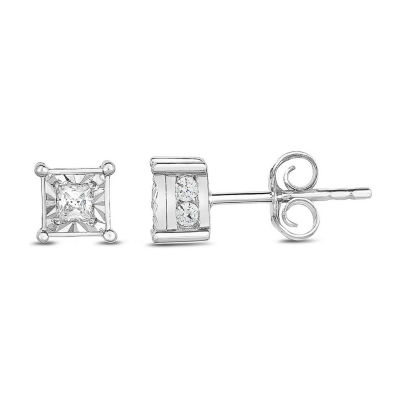 Tru Miracle 1/2 CT. T.W. Genuine White Diamond 10K Gold 5mm Square Stud Earrings