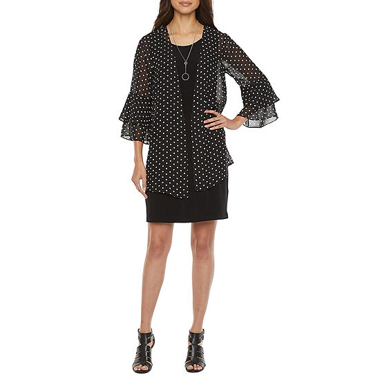 Alyx 3/4 Tiered Bell Sleeve Dot Print Jacket Dress