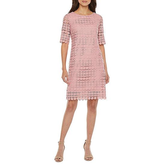 Studio 1 Short Sleeve Lace Shift Dress