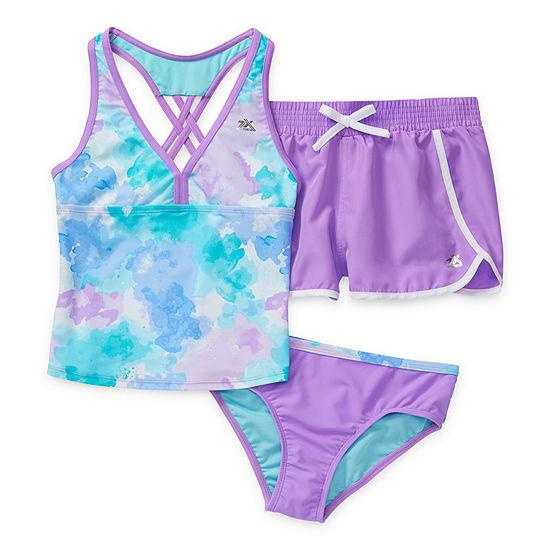 Zeroxposur Big Girls Tie Dye Tankini Set