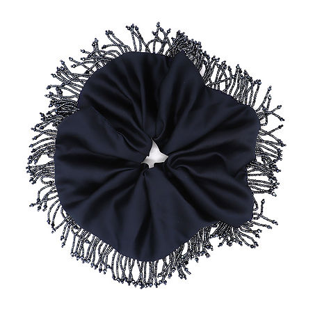 Mixit Navy Beaded Oversized Scrunchie Hair Ties, One Size , Blue