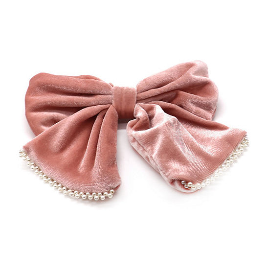 Mixit Pink Velvet And Simulated Pearl Bow Barrette