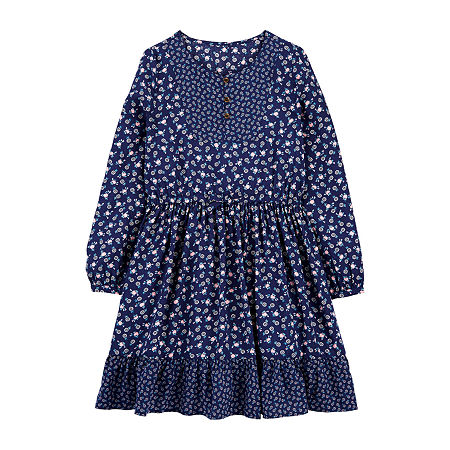 Victorian Kids Costumes & Shoes- Girls, Boys, Baby, Toddler Carters Little  Big Girls Long Sleeve Sundress 10  Blue $15.74 AT vintagedancer.com