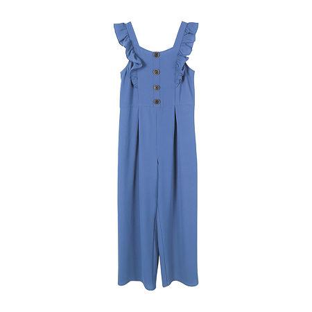 Lilt Big Girls Sleeveless Jumpsuit, 10 , Blue