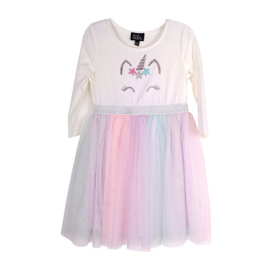Lilt Little & Big Girls 3/4 Sleeve Tutu Dress
