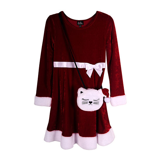 Lilt Little & Big Girls Long Sleeve Fit & Flare Dress