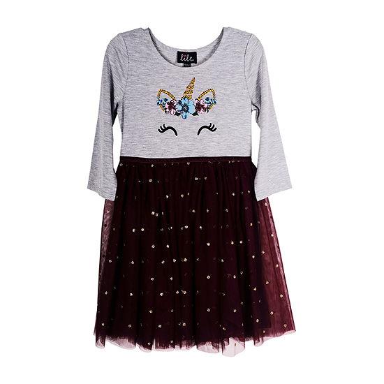 Lilt Little & Big Girls 3/4 Sleeve Tutu Dress