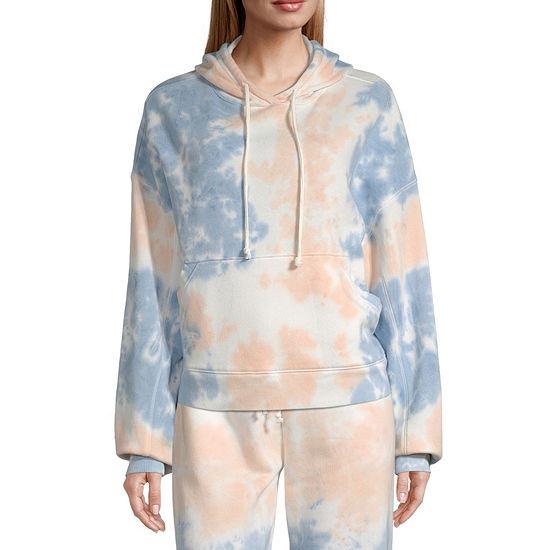 Flirtitude-Juniors Womens Long Sleeve Fleece Tie-dye Hoodie